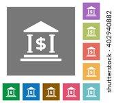 dollar bank flat icon set on...