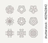 set of ornate mandala symbols....   Shutterstock . vector #402962842