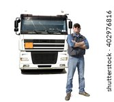 Small photo of Truck driver, isolated on white