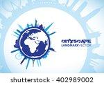 blue world landscape cityscape   Shutterstock .eps vector #402989002