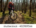 mountain biker riding on bike...   Shutterstock . vector #402989566