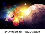 planets galaxy  the over light  ... | Shutterstock . vector #402998005
