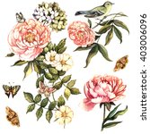 vintage floral set with bird... | Shutterstock . vector #403006096