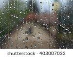 Rain Drops On Window With House ...