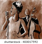 jazz singer and double bass  ... | Shutterstock .eps vector #403017592