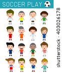 set of diverse soccer player... | Shutterstock .eps vector #403026178