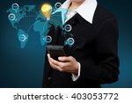 businessman showing map and... | Shutterstock . vector #403053772