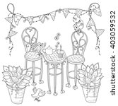 vector cute birthday  tea time ....   Shutterstock .eps vector #403059532