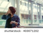 pretty stylish woman walking in ...   Shutterstock . vector #403071202