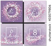 Set Of Abstract Purple Floral...