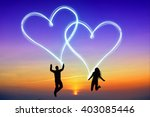 love concept   jumping  happy... | Shutterstock . vector #403085446