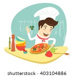 vector illustration funny chef... | Shutterstock .eps vector #403104886