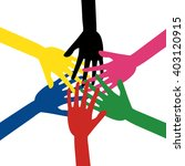 colorful human hands touching... | Shutterstock .eps vector #403120915