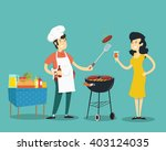woman and man on bbq. vector... | Shutterstock .eps vector #403124035