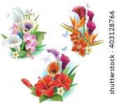 arrangement from tropical... | Shutterstock .eps vector #403128766