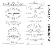 set of vintage calligraphic... | Shutterstock .eps vector #403144345