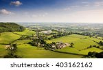 Small photo of The view of the Cotswold Hills scarp and Severn Valley from Frochester Hill near Stroud.