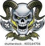 skull with horns crossing...