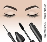 eye makeup. closed eyes with...   Shutterstock .eps vector #403170562