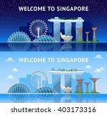 singapore. panoramic view of... | Shutterstock .eps vector #403173316