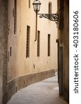 Small photo of View through narrow back ally, Florence, Italy