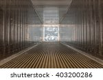 empty cargo view from inside.  | Shutterstock . vector #403200286