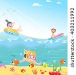 funny kids swimming theme | Shutterstock . vector #403211992
