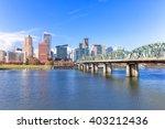 Steel Bridge Over Water With...