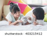 asian children playing with... | Shutterstock . vector #403215412