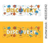 discovery lettering flat line... | Shutterstock .eps vector #403235242