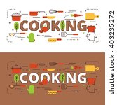 cooking lettering flat line... | Shutterstock .eps vector #403235272