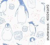 penguins lifestyle seamless...   Shutterstock .eps vector #403241692