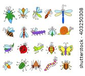 set of funny cartoon insects... | Shutterstock .eps vector #403250308