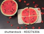 Watermelon On Wood Dark Table...