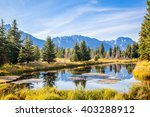 Pond in front of the Grand Teton Mountains.  On the Snake River near Oxbow Bend.  Jackson Hole, Wyoming, USA.