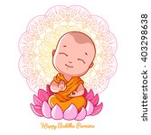 little cartoon monk on the... | Shutterstock .eps vector #403298638
