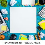 office table desk with set of... | Shutterstock . vector #403307536
