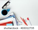 office table desk with supplies ...   Shutterstock . vector #403312735
