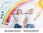 kids painting rainbow | Shutterstock . vector #403322815