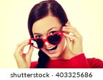 happy brunette woman with... | Shutterstock . vector #403325686