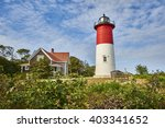 Lighthouse And Green Bushes