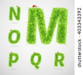 green leaves alphabet with... | Shutterstock .eps vector #403343392