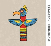 colorful indian bird totem.... | Shutterstock .eps vector #403349566