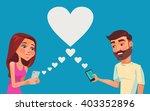 boy and girl talking online....   Shutterstock .eps vector #403352896