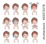 girl face emotion. vector girl... | Shutterstock .eps vector #403373278