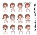girl face emotion. vector girl... | Shutterstock .eps vector #403373278
