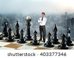 businessman on the chess board | Shutterstock . vector #403377346