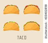 four tacos with different... | Shutterstock .eps vector #403402858