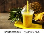 pineapple smoothie in plastic... | Shutterstock . vector #403419766
