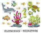 set of cartoon marine animals | Shutterstock .eps vector #403439446